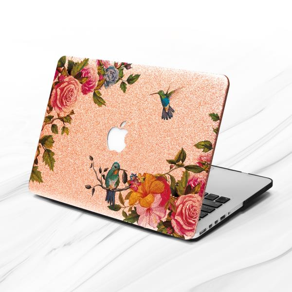 1982bc3b7f9a Details about Hummingbird Floral Peony Rose Gold Glitter Case For Macbook  Air 11 13 Pro 13 15