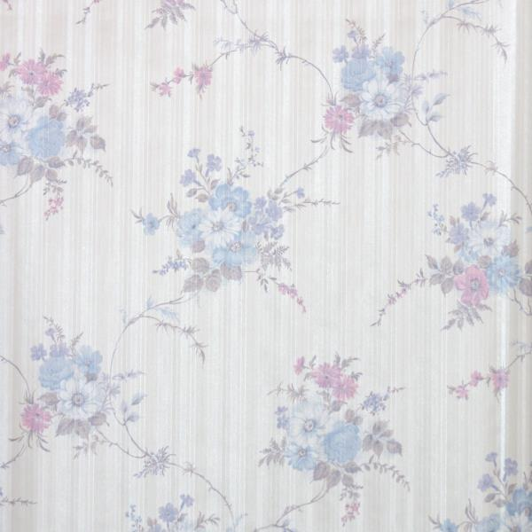 Details About 1980s Floral Vintage Wallpaper Blue Pink And Periwinkle Flowers On Cream