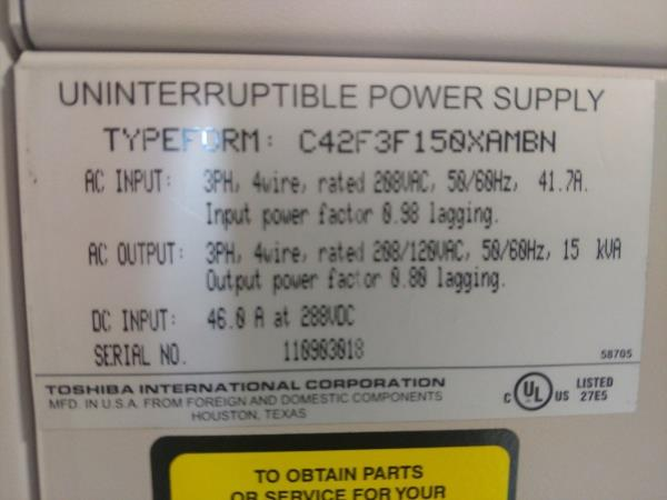 Details about Toshiba 15kva UPS C42F3F150XAMBN (uninterruptible power  supply)