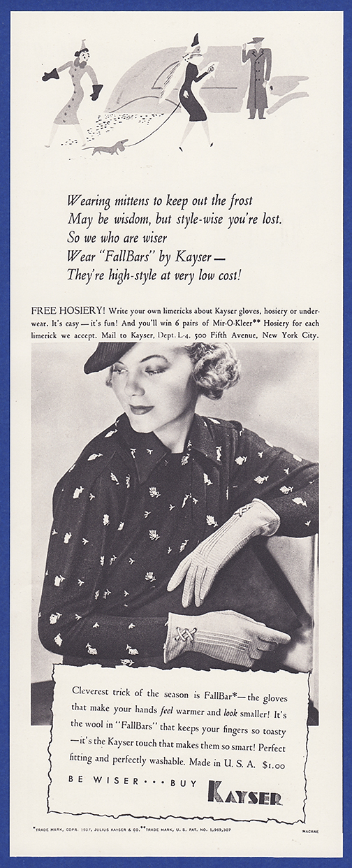 c2e3291398 Details about Vintage 1937 KAYSER Fallbars Gloves Women's Fashion Print Ad  1930's