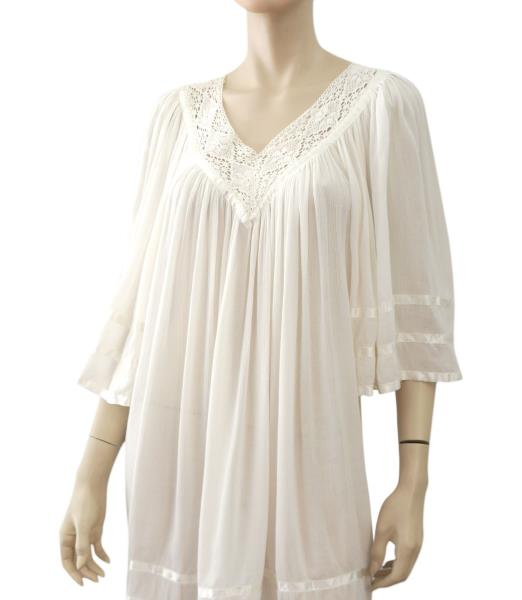 0cfd386204536 ANTIK BATIK White Cotton Gauze Swim Cover Up Mini Dress One Size. ANTIK  BATIK COTTON GAUZE COVERUP