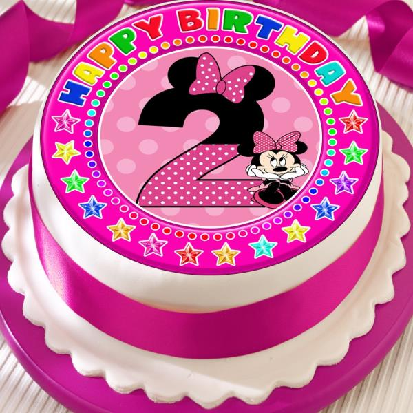 MINNIE MOUSE AGE 2 2ND BIRTHDAY PRECUT EDIBLE 75 INCH CAKE TOPPER DECORATION