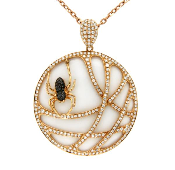 Luxo Jewelry News Letter - High Quality Premium Jewelry - 1.45 CT Diamonds 18K Rose Gold Tow Side Spider Pendant Necklace Size 18