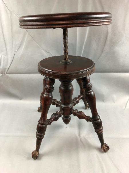 Phenomenal Details About Antique Victorian Wooden Adjustable Piano Stool Glass Ball Claw Feet Gamerscity Chair Design For Home Gamerscityorg