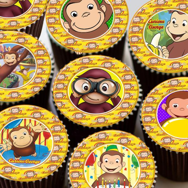 Baking Accs. & Cake Decorating Mod Monkey Blue Edible Cupcake Toppers Decoration Latest Technology Home & Garden