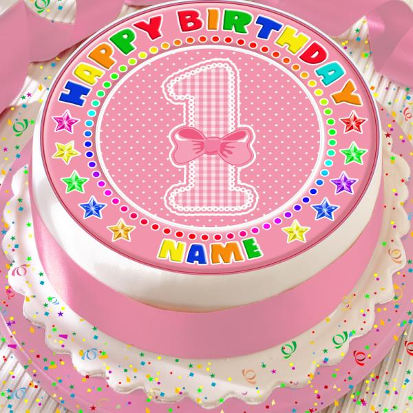 Happy 1st Birthday Age 1 Pink Bow 75 Inch Precut Edible Cake Topper