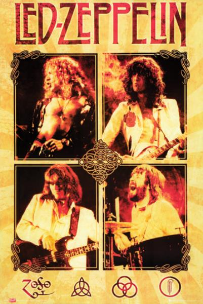 Led Zeppelin Live 24x36 Poster 4 Photos Collage Classic Rock Music ...