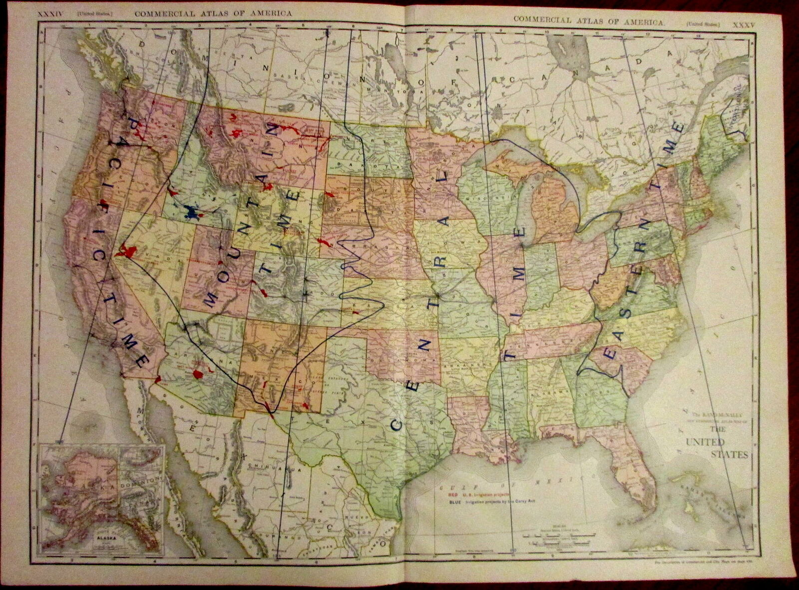 United States shows Time Zones & Carey Irrigation Projects 1913 big  detailed map | eBay