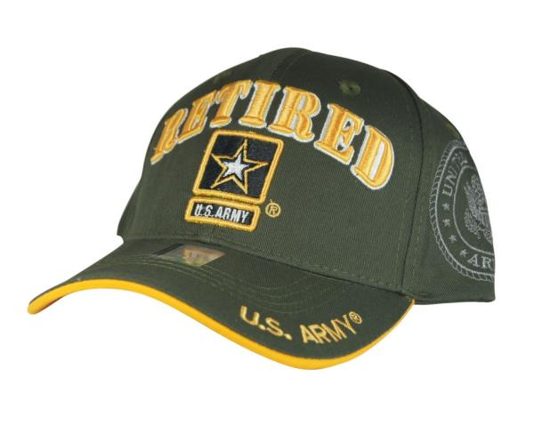 NWT US ARMY RETIRED STAR 3D EMBROIDERY BASEBALL CAP HAT Adj Back ... 462a95a47fc6