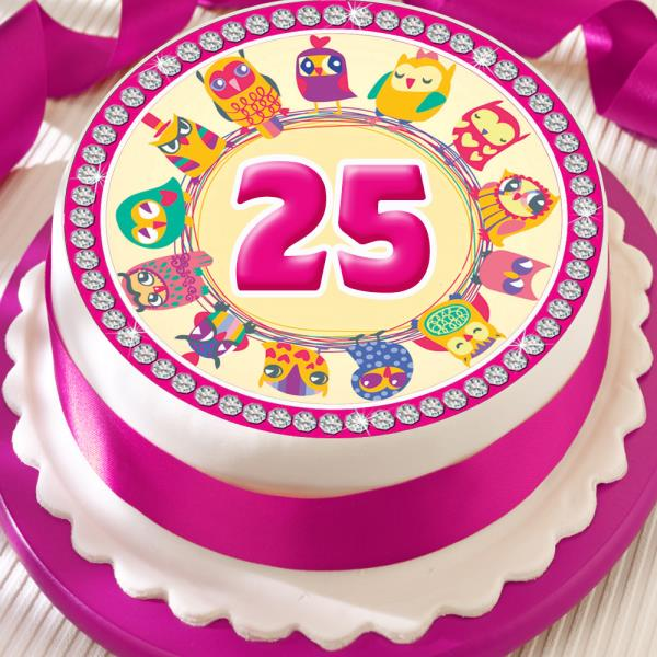 Pink Owl 25th Birthday Anniversary Border 75 Inch Precut Edible