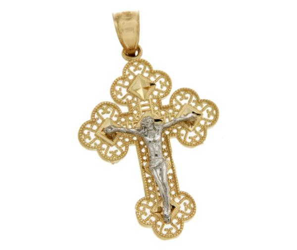 Luxo Jewelry News Letter - High Quality Premium Jewelry - ¦Solid 14k Gold Jesus Crucifix 38 mm Height Diamond Cut Cross Pendant »G112