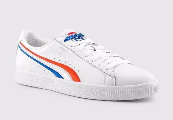 brand new 703ac afb1b Details about [365459-01] Mens Puma Clyde 4th Of July - White Red Blue  Sneaker