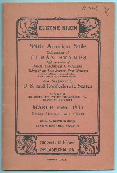Details about 3/16/1934 Eugene Kline 88th Auction Sale Walsh Collection US  Administration Rare