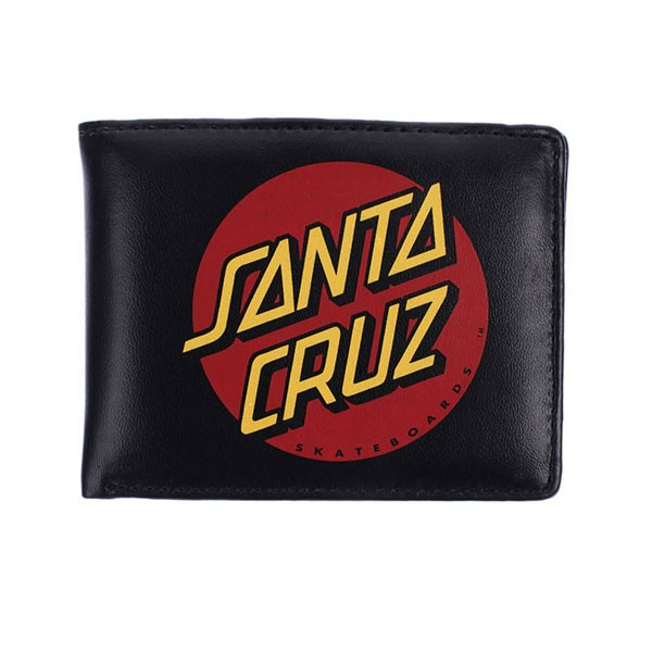 Santa Cruz Wallet Big Dot Black PU Bi-Fold Skateboard Surf Purse New FREE POST
