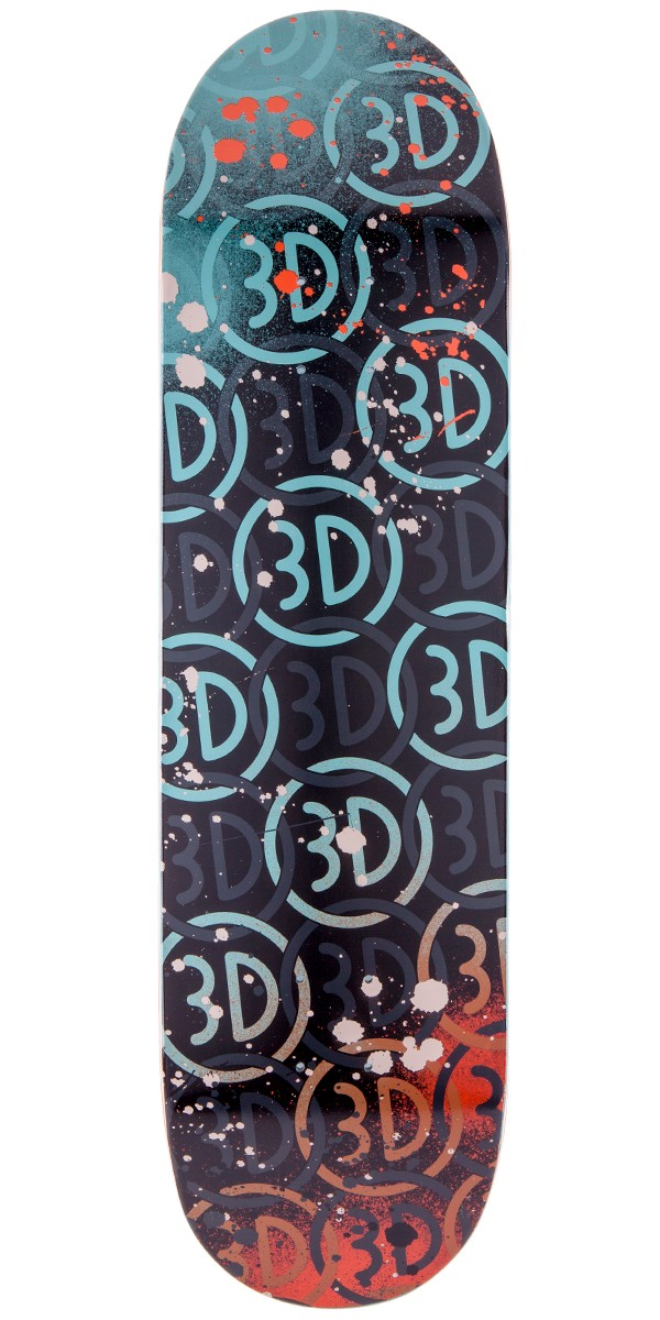 3D Skateboard Deck Logo Spray 8.5 Blue New FREE GRIP and FREE POST By Brian Anderson and Austyn Gillette