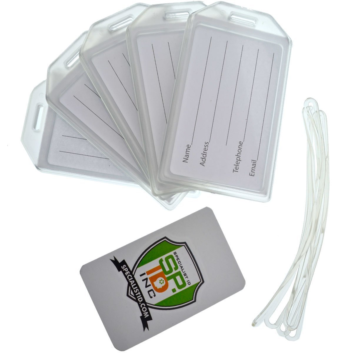 b19908540458 Details about 25 Pack - Heavy Duty Rigid Airline Luggage ID Bag Tag Holders  with Plastic Loops