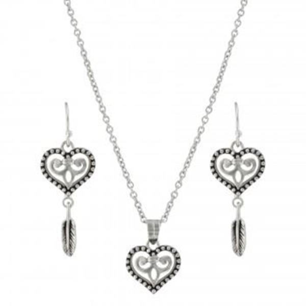 Montana Silversmiths Silver Dreams Of My Heart Feather Jewelry Set