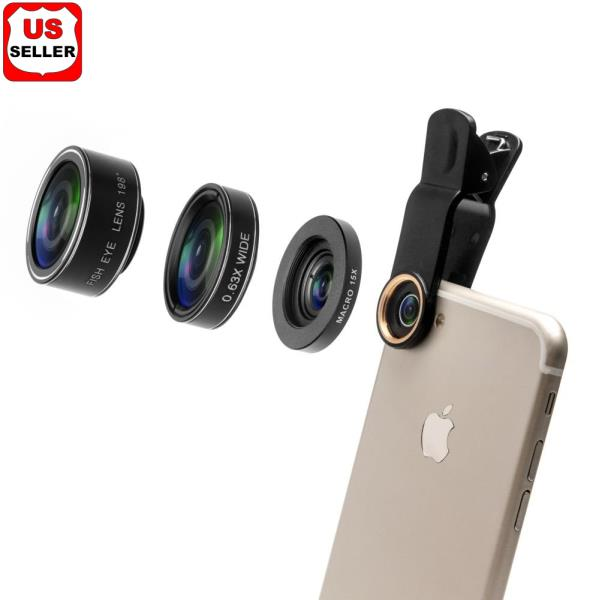 half off 4483b c8634 Details about 198°Fisheye Lens + 0.35 Wide Angle Lens + 15X Macro Lens for  iPhone 6S 7 Samsung