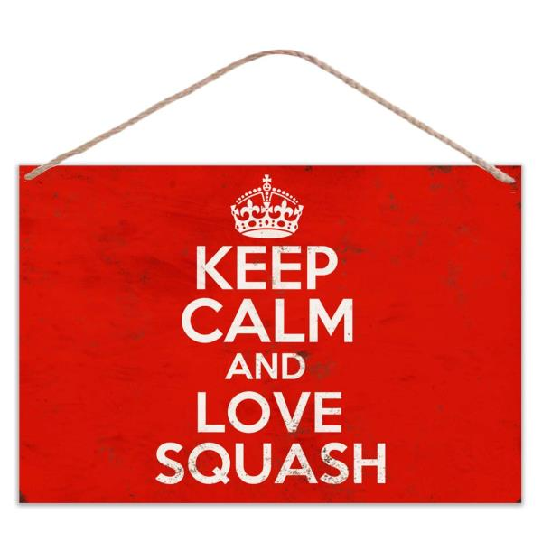 Keep Calm And Love Squash Vintage Look Metal Large Plaque Sign 30x20cm