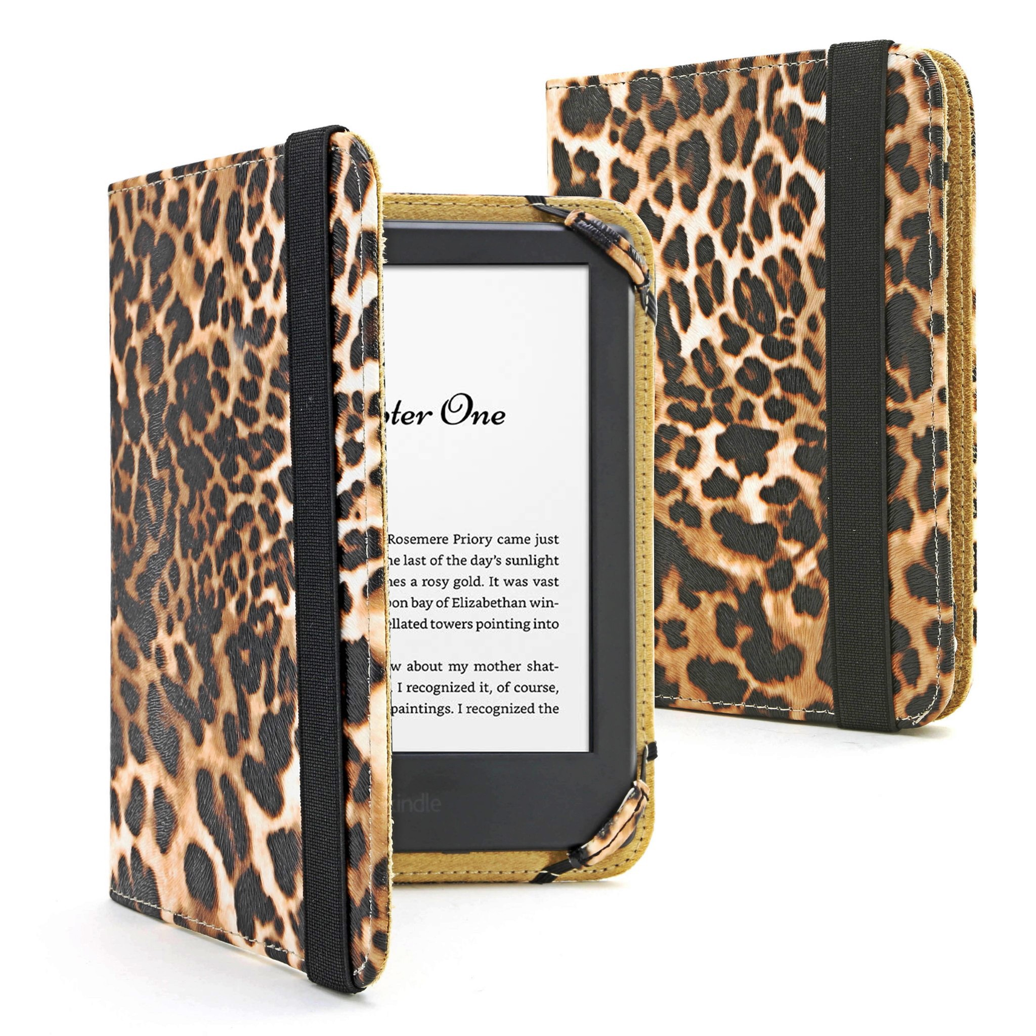 LEOPARD PU LEATHER ANIMAL PRINT CASE COVER FOR KINDLE TOUCH 7