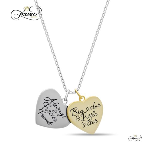 3f60fcf212eb0 Details about Sister Double Heart Necklace, 925 Silver, 14K Gold and Silver  Plated Two Heart N