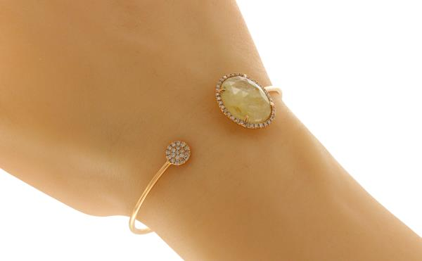 Luxo Jewelry News Letter - Premium Jewelry - Rose Cut Sliced 8.8 CT Moon Stone & 0.33 CT Diamonds 14K Rose Gold Bangle »NP1