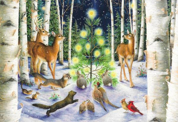 Wildlife Christmas Cards.Details About Gorgeous Wildlife Animals In Snowy Winter Forest Hallmark Christmas Cards 4