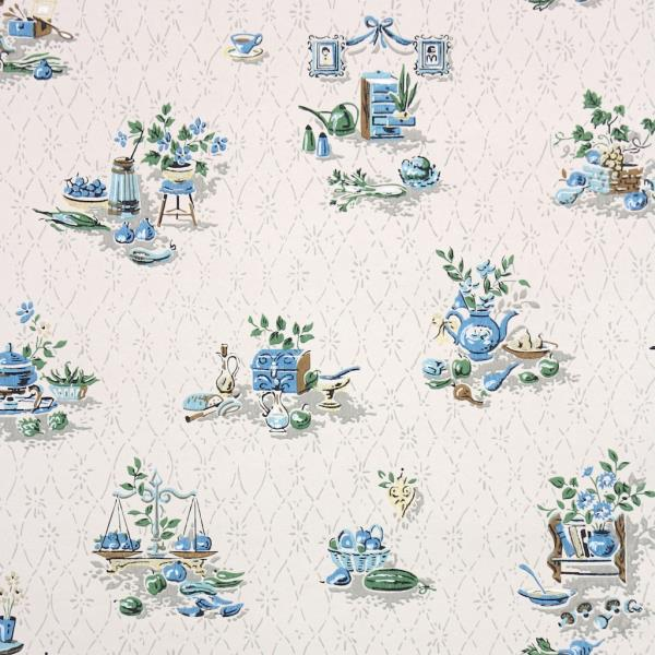 1950s Vintage Wallpaper Retro Kitchen Wallpaper Blue Knick Knacks On