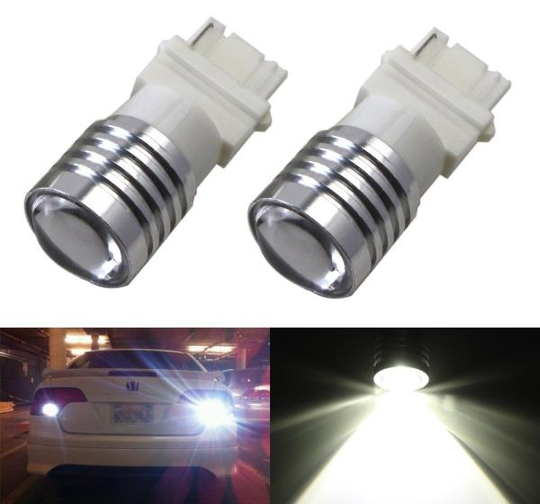 2x White High Power 3156 3157 LED Backup Reverse Light Lamp Bulbs Powerd 5W 12V