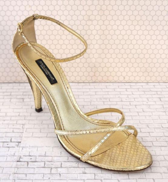42c15e28633 Details about DOLCE & GABBANA 39 Metallic Gold Snakeskin Heels Strappy  Sandals 8.5