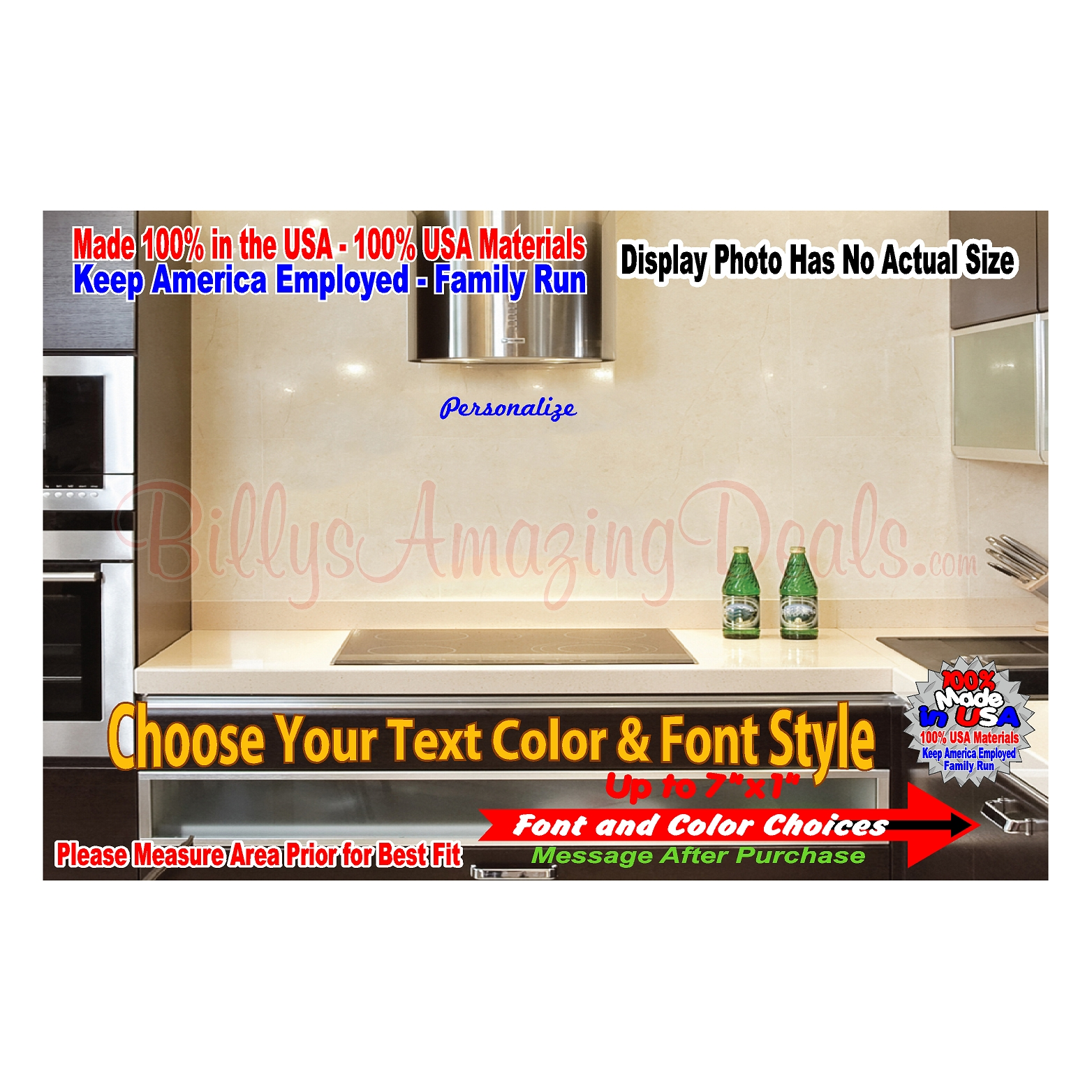 Details about 7 x 1 personalized custom text decal wall door glass bed room lettering sticker