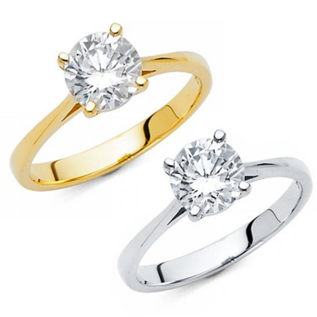 14K Gold 1.75ctw Brilliant Round Cut Simulated Diamond Solitaire Engagement Ring