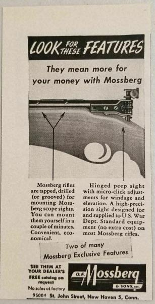 1949 Print Ad Mossberg Rifles with Hinged Peep Sights New