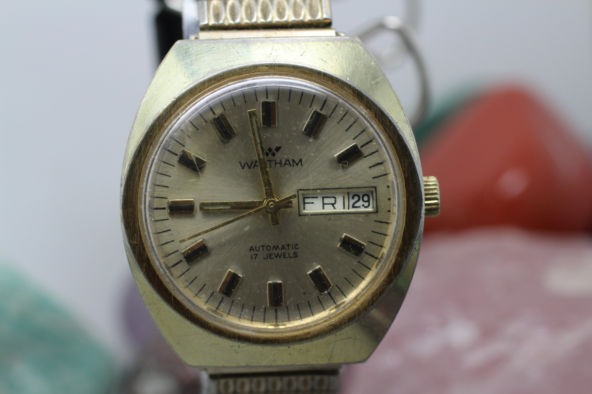 87097680ac1 Vintage Waltham Automatic 17j Day Date Mens Wrist Watch