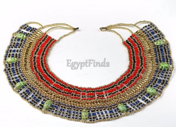Gorgeous Handmade Belly Dance Egyptian CLEOPATRA Necklace w//9 Scarabs..Halloween
