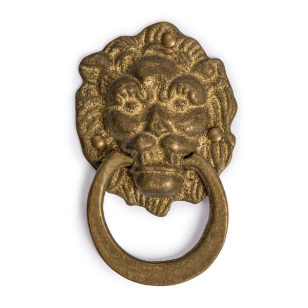Chinese Brass FROWNING LION Door Hardware Pull 7.5 Chinese Brass Hardware