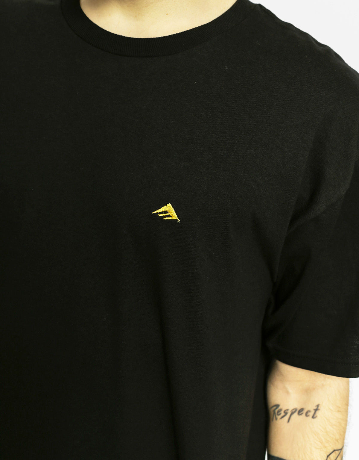 Emerica Shoes Tee Triangle Embroidery Black Gold FREE POST New Mens Skateboard T-Shirt