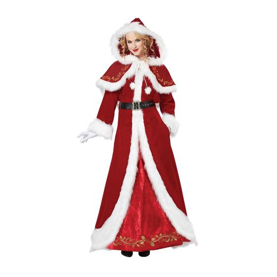 Mrs Claus Christmas Costume Holiday Santa Red Hooded Cape Dress Xl