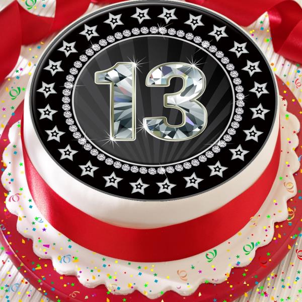 13th Age 13 Black Birthday Anniversary 75 Inch Precut Edible Cake