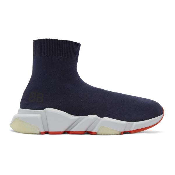 ef10ef74b38 Balenciaga Speed Runners High-Top Sneakers Navy Size 7 8 9 10 11 12 13 Mens  Shoe