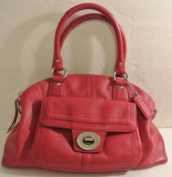 937f1e2d Details about COACH DARK PINK / RED Pebbled Leather Domed Classic Tote Bag  Purse J1069 F15693