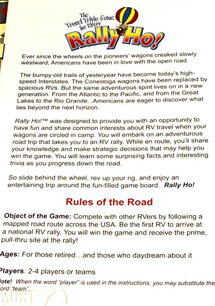 Rally Ho Travel trivia game for RVers Gently used complete For