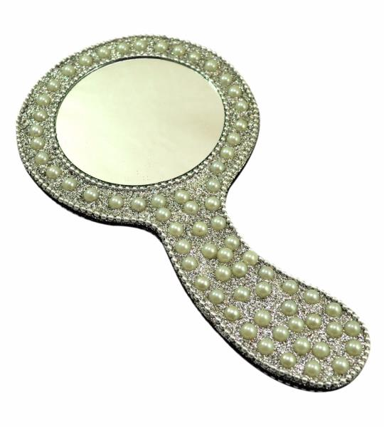 Amazing India A Round Hand Decorative Mirrors 7 Inches Dia 2 8 Inches White Ebay