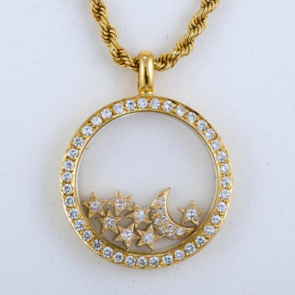 Chopard happy diamond pendant 16 rope chain 18k yellow gold chopard happy diamond pendant 16 rope chain 18k yellow gold star moon 23mm aloadofball Image collections