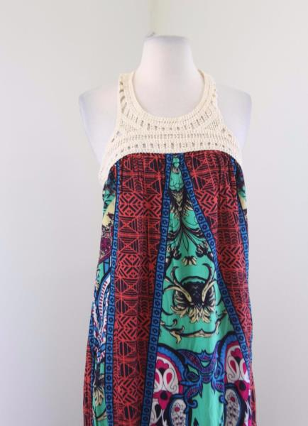 9f98af594cc Details about Flying Tomato Crochet Knit Halter Maxi Dress Size L Abstract  Print Summer Boho