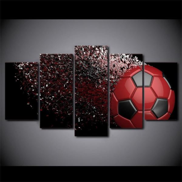 5 Panel Canvas Wall Art Red Soccer Ball Abstract Disintegrate Framed ...