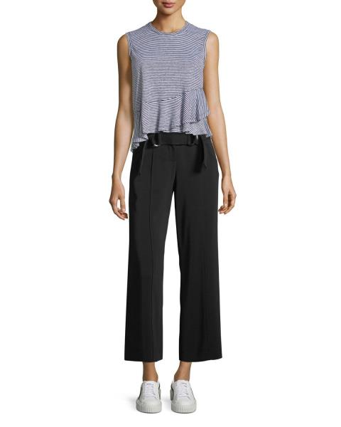 $178 Eileen Fisher Black Wide Leg Crop Knit Belted Pants Size XS New with Tag