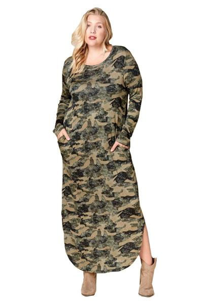 Details about Plus Size Camouflage Long French Terry Knit Nightgown Dress