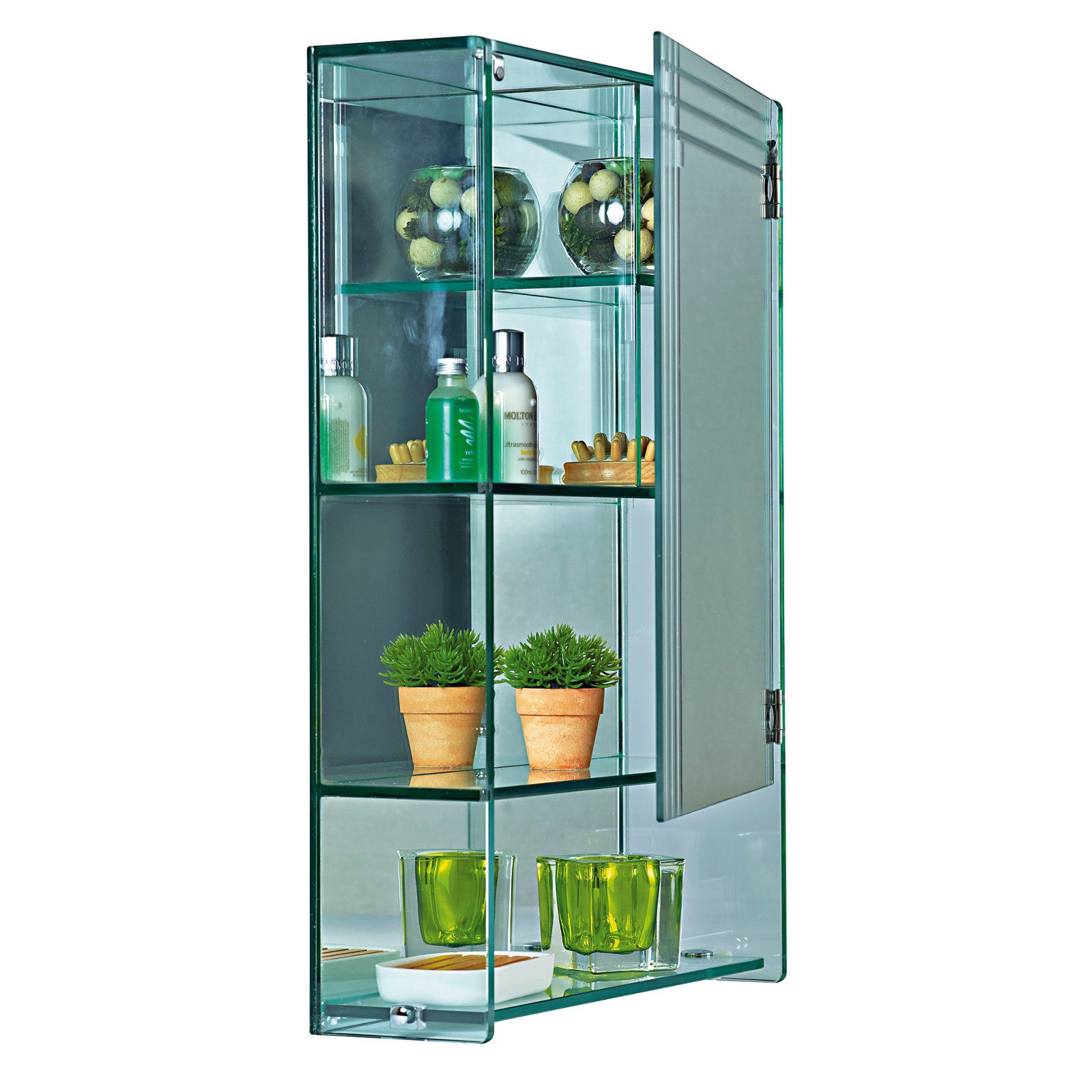 Wall Mounted Glass Bathroom Cabinet 4 Tier Storage Unit | Marritimo ...