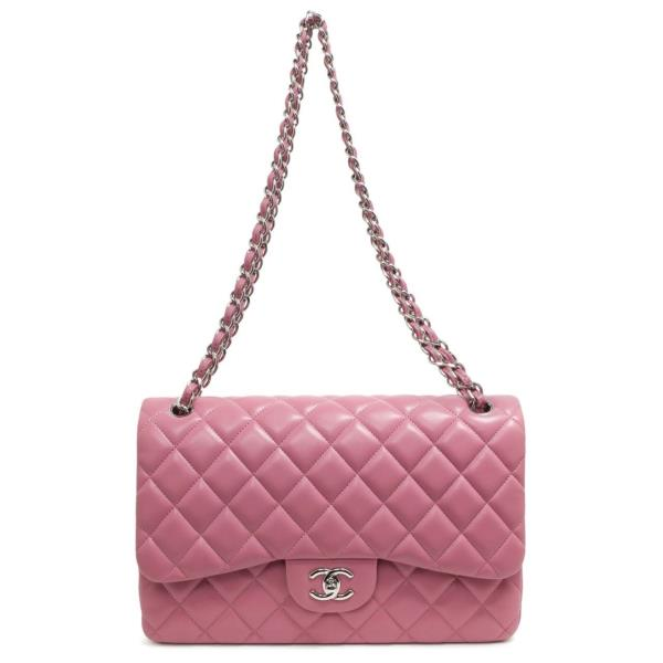 bee7969c194f14 Details about Chanel Pink Quilted Lambskin Jumbo Classic Double Flap